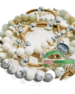 """ semi precious stones Seascape"" Wrap Bracelet with leather and silver beads"