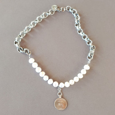 State Coin & Pearl Necklace - Beauty In Stone Jewelry
