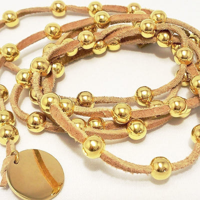 Gold Beaded Lariat On Suede Leather - Beauty In Stone Jewelry