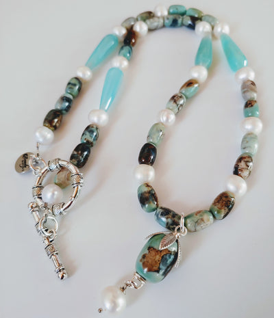 Blue Agate Gemstone & Pearl Necklace - Beauty In Stone Jewelry