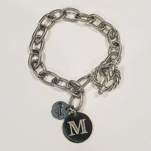 Chain Link Bracelet With Coin or Monogram