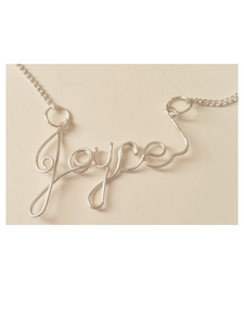 Custom Wire Name, Initial or Year Necklace