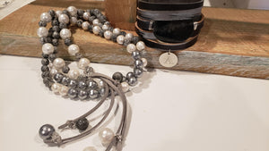 Shell pearl and gemstone necklace with leather tassel gray & white