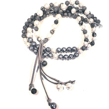 Load image into Gallery viewer, Shell pearl and gemstone necklace with leather tassel gray & white