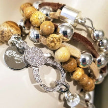 Load image into Gallery viewer, Gemstone beaded bracelet with rhinestone clasp and silver beads