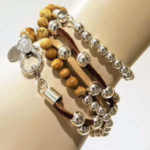 picture jasper and silver beaded bracelet