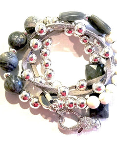 Gemstone beaded bracelet with rhinestone clasp and silver beads