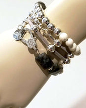 Load image into Gallery viewer, Wrap bracelet with gray beads and leather
