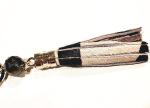 Zebra Leather Tassel Necklace
