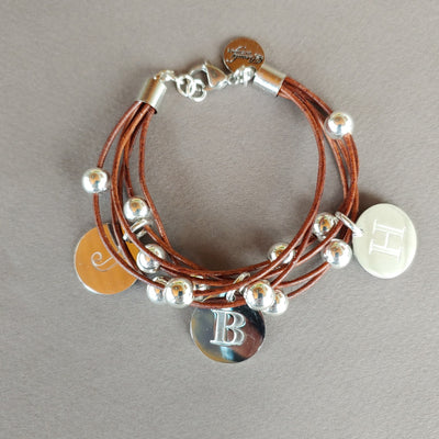 Leather Bracelet With Personalized Engraved Charms - Beauty In Stone Jewelry