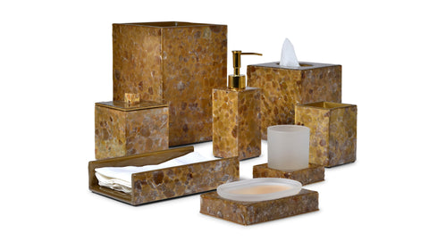 Gold Bathroom Accessories By Mike Ally Of New York - Metallic gold bathroom accessories