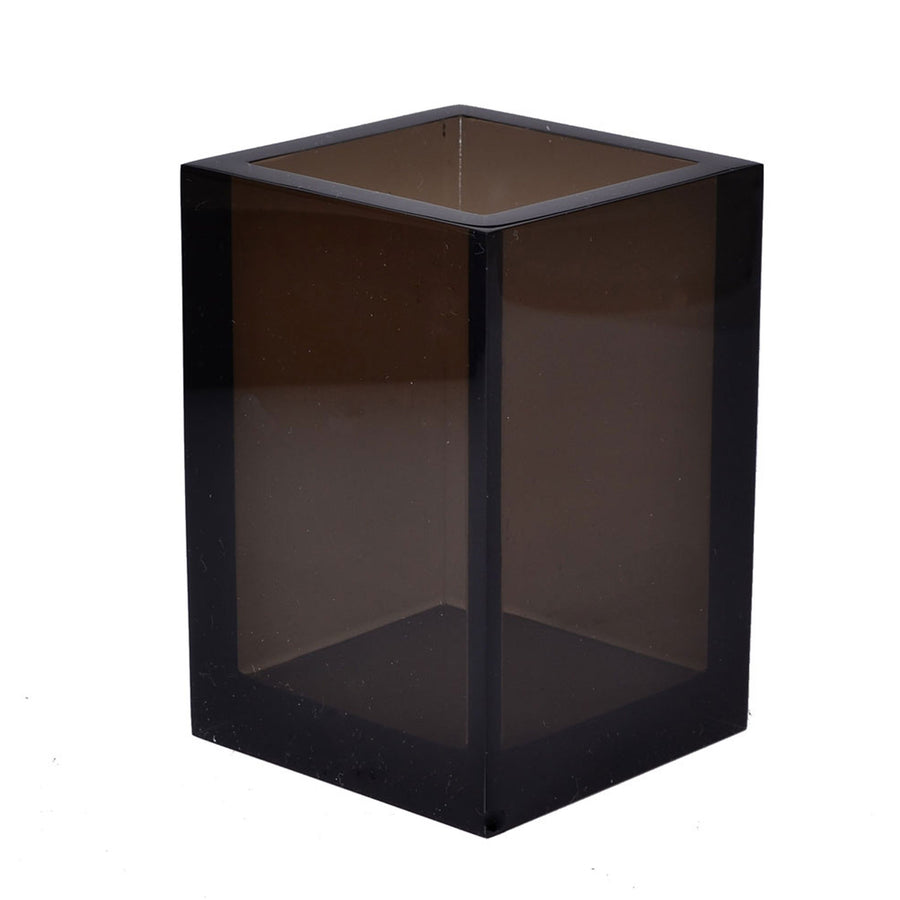 Modern lucite brush holder - smoke