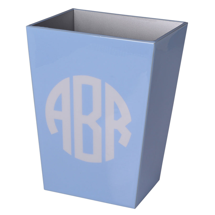 wastebasket - monogram luxury bath accessory blue