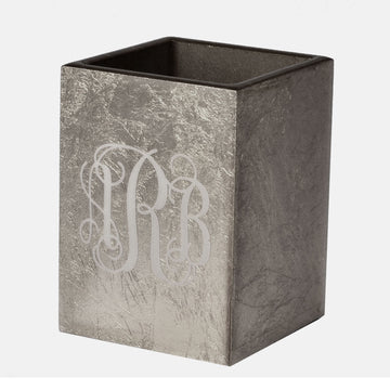 silver brush cup - monogram