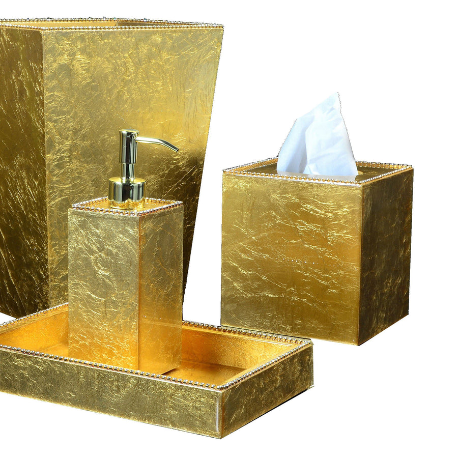 Gold Wastebasket and Bath Accessories - Audrey