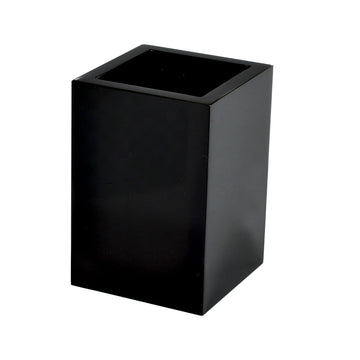 Modern Lucite Brush Holder - Black Ice