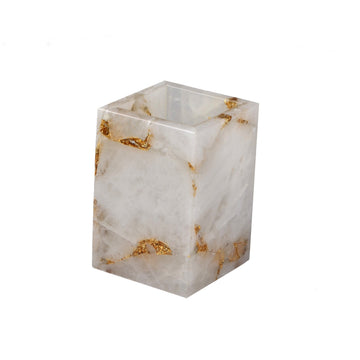 Rock Crystal w/gold Brush Holder