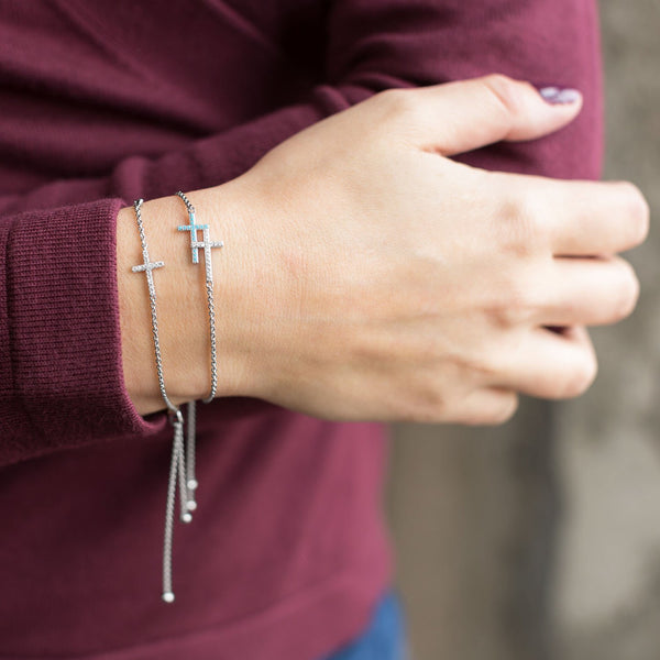 Rhodium Plated CZ Cross Friendship Bolo Bracelet