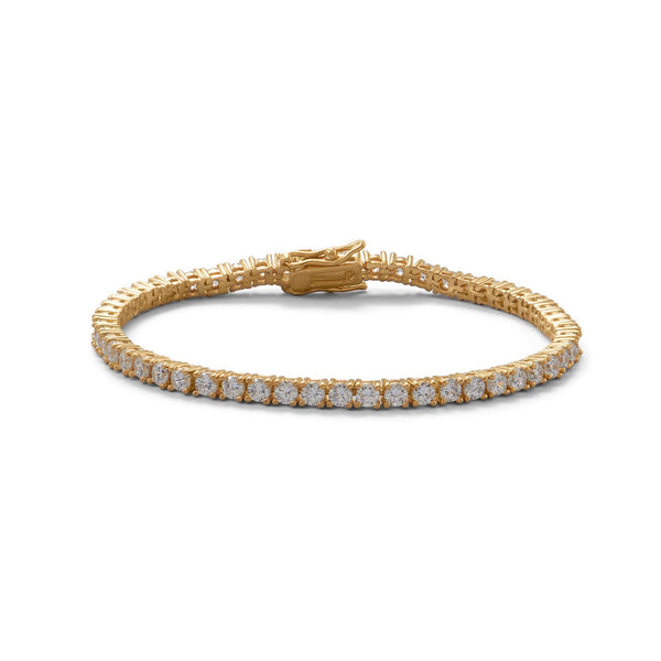 "7"" 14K Gold Plated 3mm CZ Tennis Bracelet"