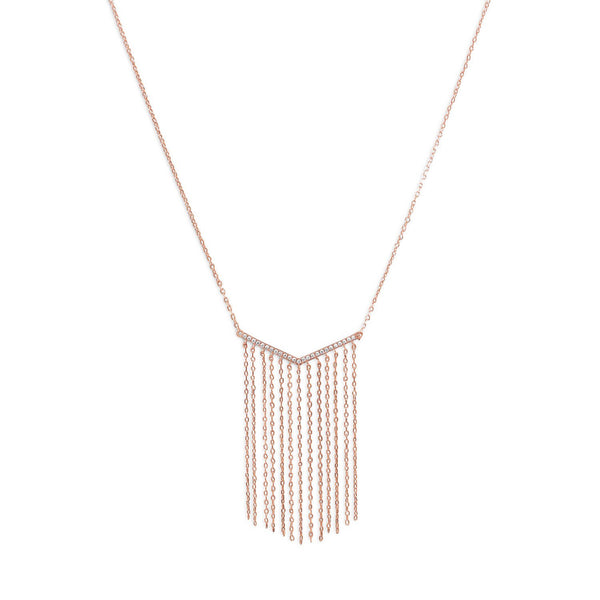 "14 Karat Rose Gold Plated ""V"" Tassel Drop Necklace"