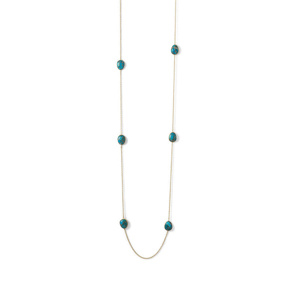 14 Karat Gold Plated Turquoise Stone Endless Necklace