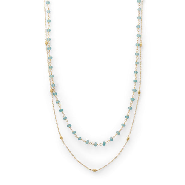 Two Strand 14 Karat Gold Plated Apatite Necklace