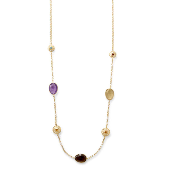 "24"" 14 Karat Gold Plate Multi Stone Necklace"