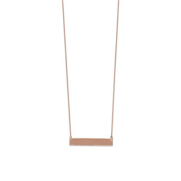14 Karat Rose Gold Engravable Bar Necklace