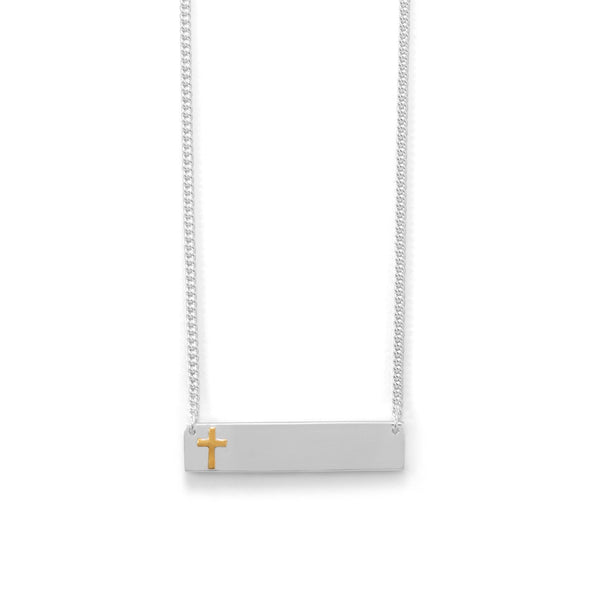 "16"" + 2"" Bar Necklace With 14 Karat Gold Plated Cross"