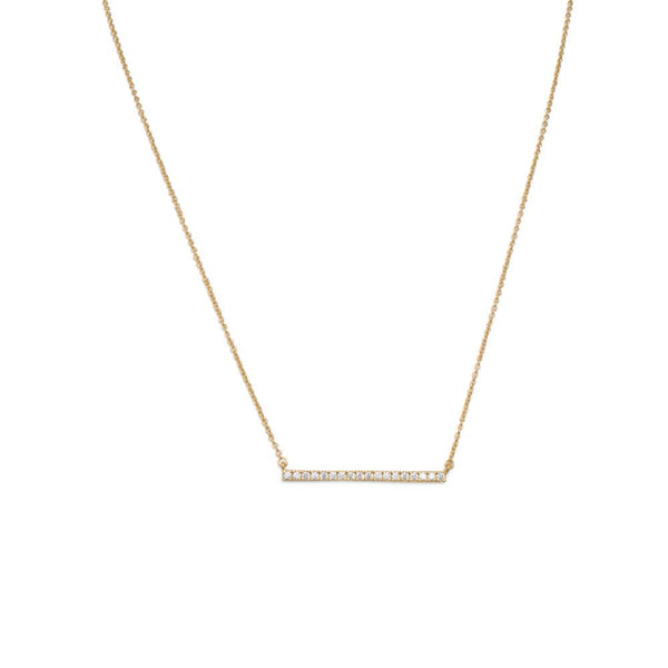 "16"" + 2"" 14 Karat Gold Plated CZ Bar Necklace"