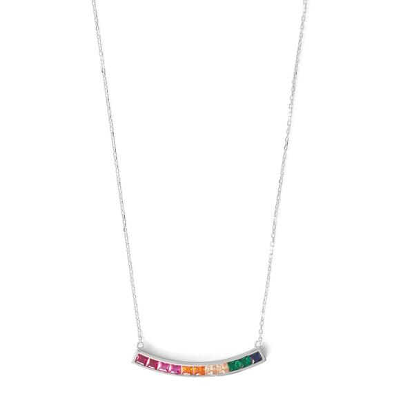 Rhodium Plated Rainbow CZ Necklace