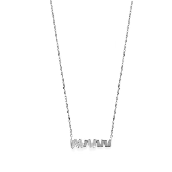 "16""+2 CZ Staggered Bars Necklace"