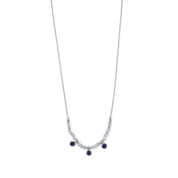 "Blue Baubles! 21""+2"" Rhodium Plated Aquamarine and Blue Quartz Necklace"