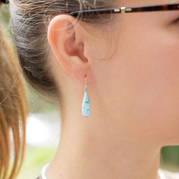 Pear Shape Larimar Earrings