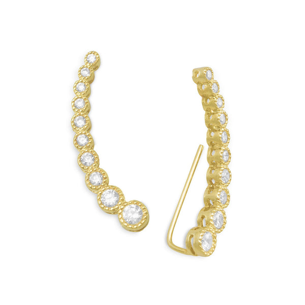 Textured 14 Karat Gold Plated Bezel CZ Ear Climbers
