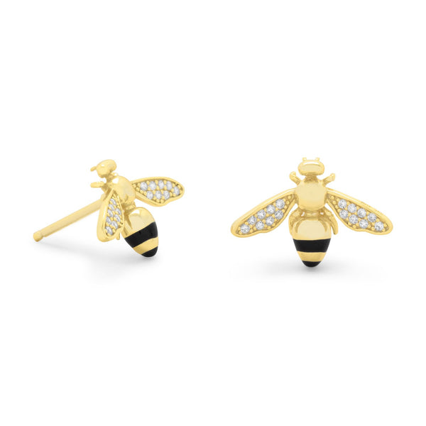 """BEE Mine!"" 14 Karat Gold Plated Signity CZ Bee Earrings"