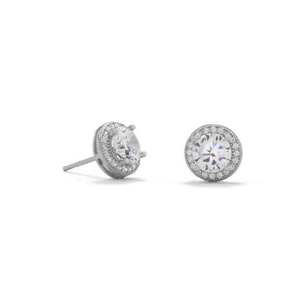 Rhodium Plated Elegant 6.5mm CZ Studs