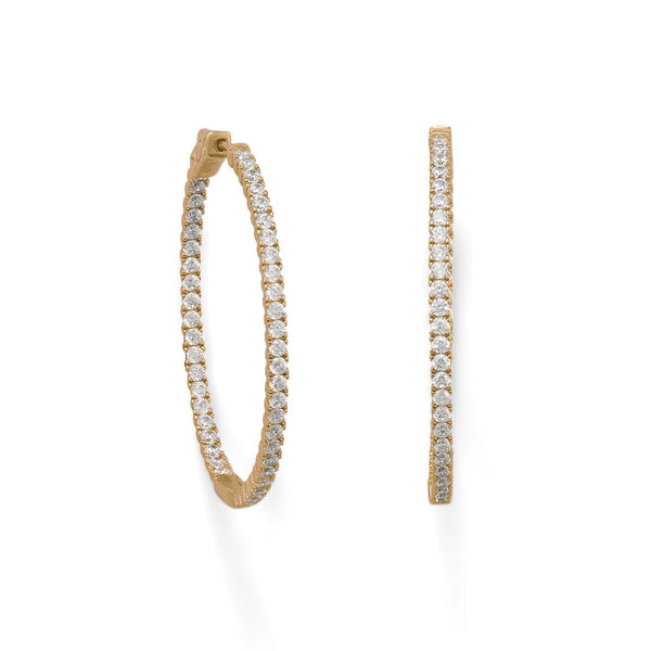 14 Karat Gold Plated Oval In/Out CZ Hoop Earrings