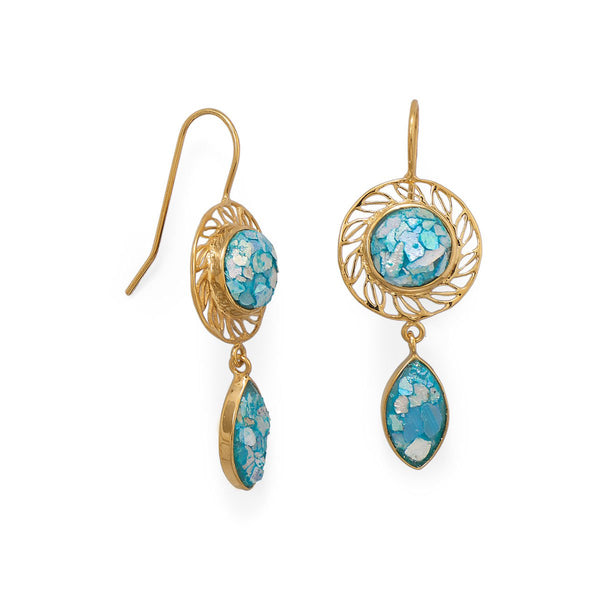 14 Karat Gold Plated Roman Glass Drop Earring