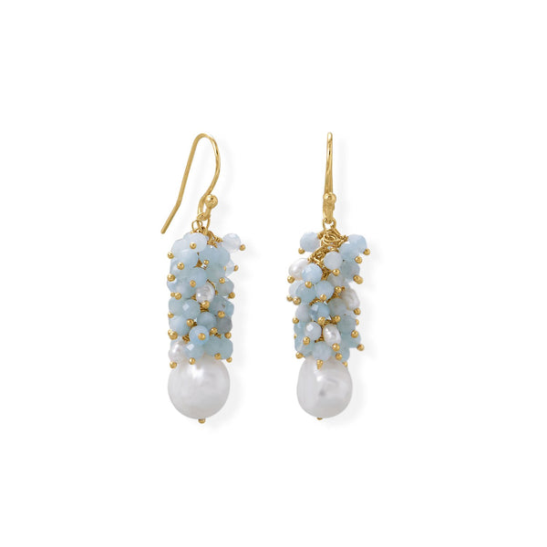14 Karat Gold Plated Aquamarine and Cultured Freshwater Pearl Earring
