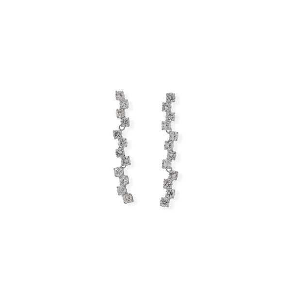 Rhodium Plated Falling CZ Drop Earrings