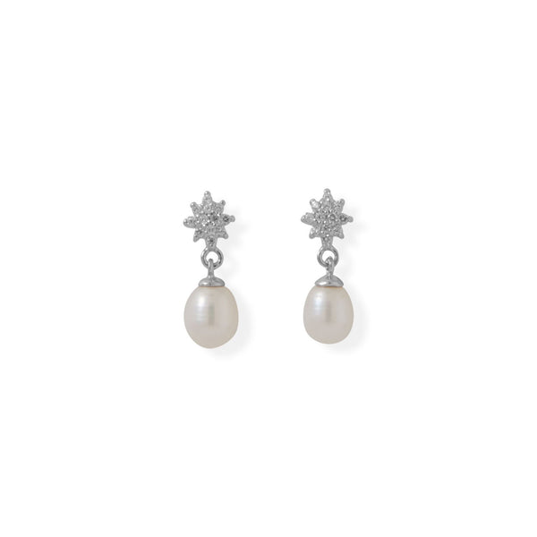 CZ Flower Post with Cultured Freshwater Pearl Drop Earrings