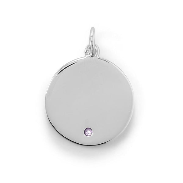 Engravable Rhodium Plated CZ Pendant - June Birthstone