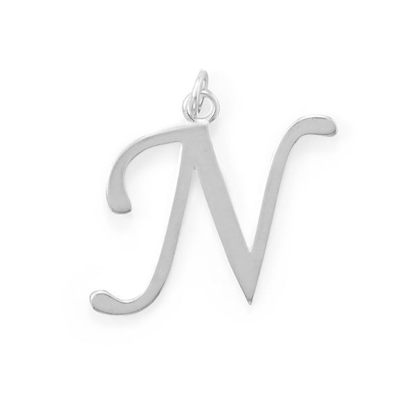 Polished Letter N Initial Pendant