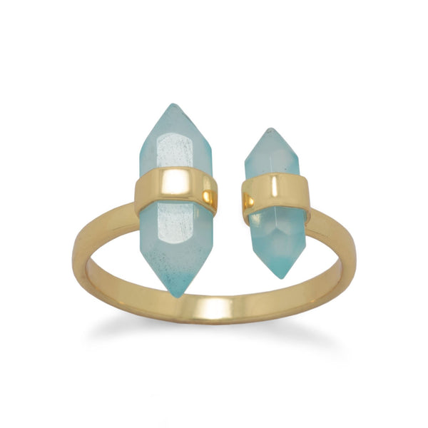 14 Karat Gold Plated Spike Pencil Cut Aqua Chalcedony Split Ring