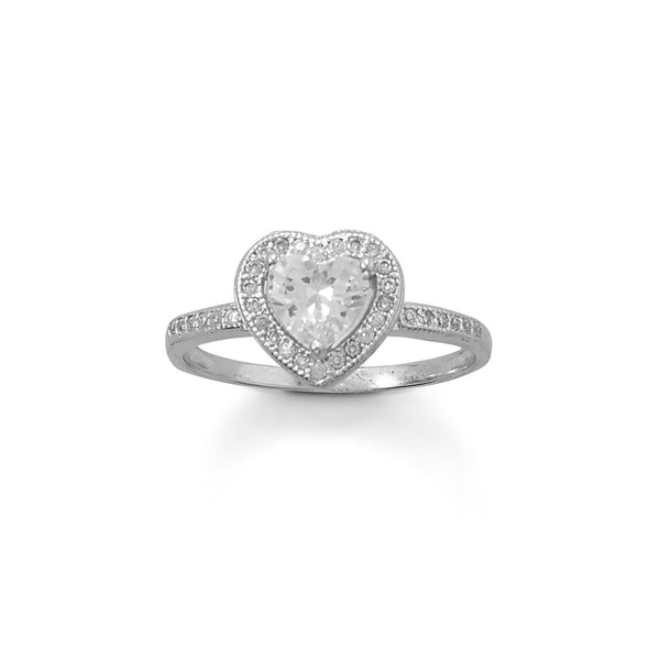 Rhodium Plated CZ Heart Ring