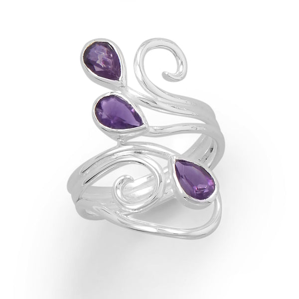 Polished Scroll Design Amethyst Ring