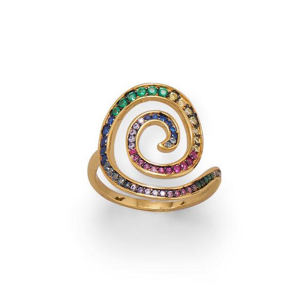 Hypnotic Multi Color CZ Spiral Ring