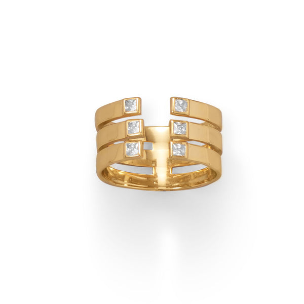 14 Karat Gold Plated 3 Row CZ Ring