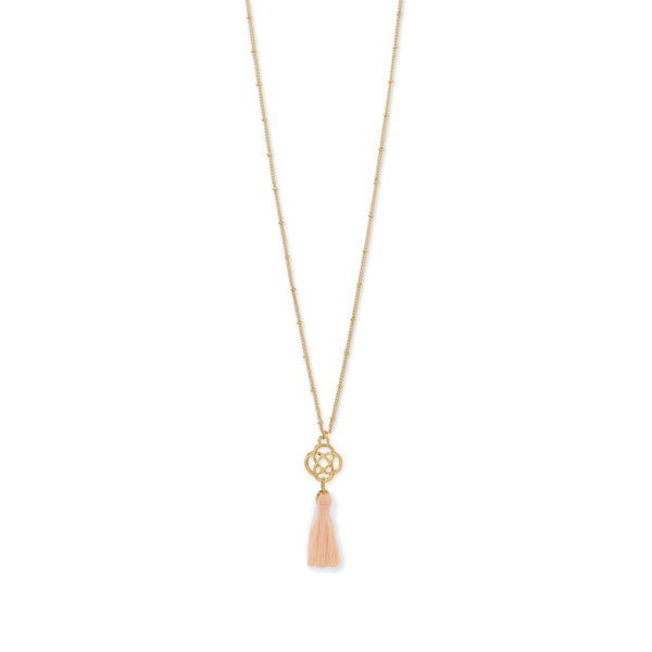 Gold Tone Celtic Charm and Peach Tassel Necklace